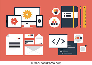 Flat design modern vector illustration icons set of business branding and development web page, application programming code. Isolated on red background
