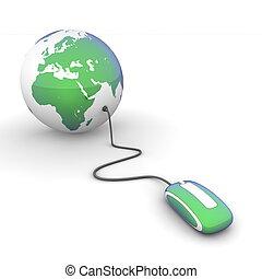 branding, -, blauwe-groen, glanzend, wereld
