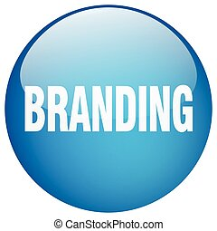 branding blue round gel isolated push button