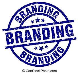 branding blue round grunge stamp