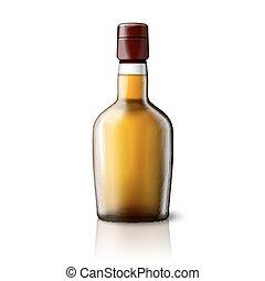branding., bouteille, réaliste, isolé, gris, whisky, vecteur, endroit, fond, vide, conception, ton
