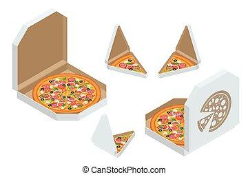 branding., boxas, smaklig, bakgrund., slice., använd, frisk, varm, klassisk, design, isometric, isolerat, skiva, pizza, vit, italiensk, pizza, triangel