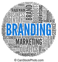 Branding concept in tag cloud - Branding and marketing...