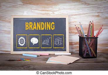 branding, concept., viejo, tabla de madera, con, textura