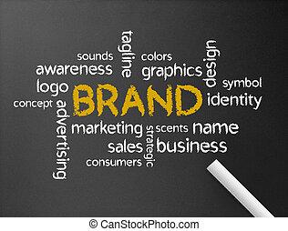 Branding - Dark chalkboard with a branding word...