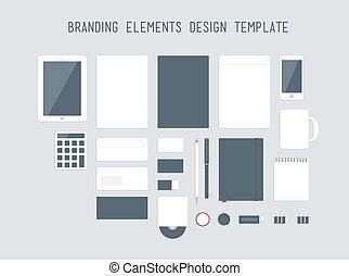 branding, diseño, vector, conjunto, elementos