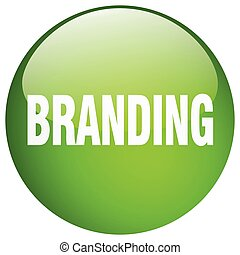 branding green round gel isolated push button
