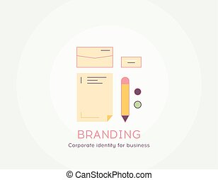 Branding icon - Thin line flat design of Corporate identity for business Flat modern color icons.