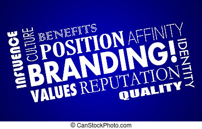 Branding Identity Reputation Trust Word Collage 3d...