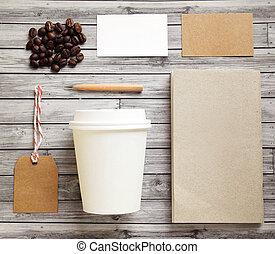 branding, mockup, identidad, conjunto, café