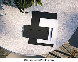 Branding mockup on the wooden table. 3d rendering