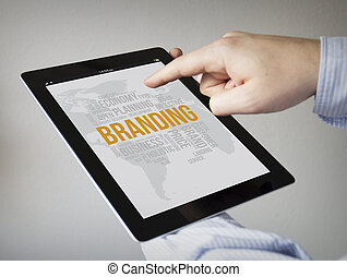 branding on a tablet