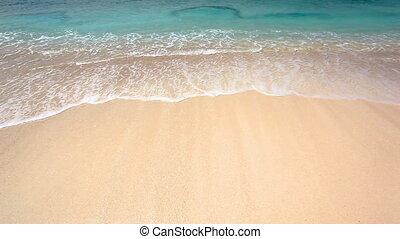branding, op, een, zand strand