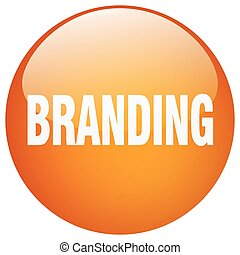 branding orange round gel isolated push button