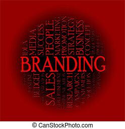 branding, palabra, nube