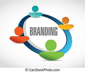 branding people network sign concept illustration design ...
