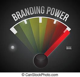 branding power speedometer illustration design over a black...