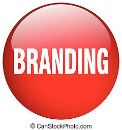 branding red round gel isolated push button