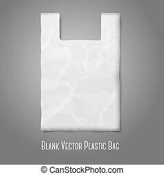 branding., sacola plástica, vetorial, lugar, em branco, desenho, branca, seu