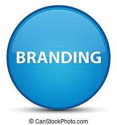 Branding special cyan blue round button