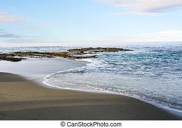 branding, strand, kustlijn, gematigd