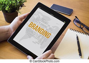 branding, tableta, escritorio