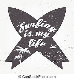 branding, waves., badge., print., symbols., surfing, embleem, zomer, ontwerp, ouderwetse , vector, instappen, strand, gekruiste, communie, grafisch, design., boards., stijl, surfer, web, logo, surfboard, zeehondje, of, illustration.