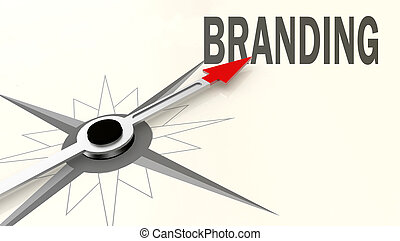 Branding word on compass with red arrow