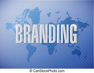 branding world map sign concept illustration