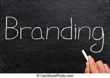 Branding, written on a blackboard.
