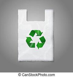 branding., znak, odizolowany, recycling, szary, plastyczna torba, wektor, zielony, czysty, projektować, biały, twój