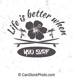 branding, zomer, huren, surfing, hemd, concept., of, -, vector, stamp., retro, badge., concept, plank, vector., pictogram, liggen, afdrukken, logo, design.