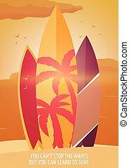 branding, zomer, strand., poster., surfing, spandoek, surfboards, design.