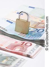brandkast, eurobiljet, geld