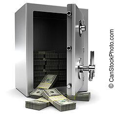 brandkast, met, geld