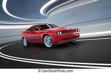 brandless, ángulo, frente, norteamericano, rojo, genérico, músculo, vista, coche