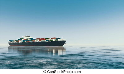 Brandless 3D cargo container ship at open sea 4K - Low angle...