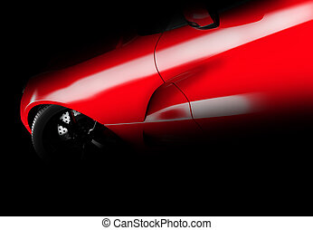 brandless, coche, vista, genérico, oscuridad, lateral, rojo