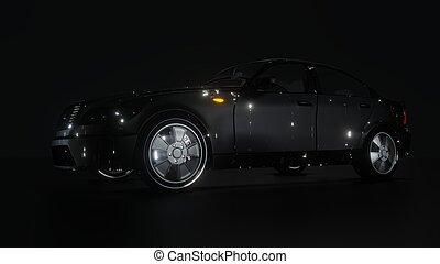 brandless, negro, 3d, coche, fondo., oscuridad, ilustración