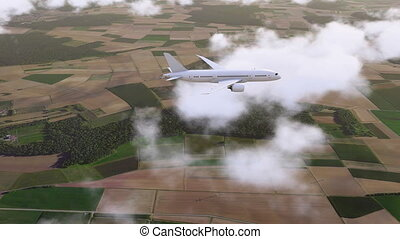 Brandless passenger airliner flying among clouds - Side view...
