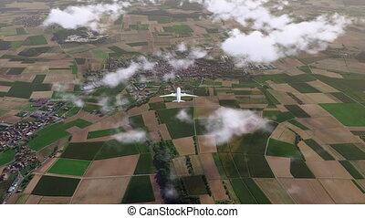 Brandless passenger plane flying above countryside