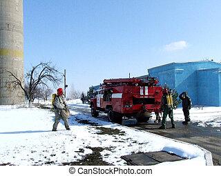 brandmän, in, kemisk, skydd, passa