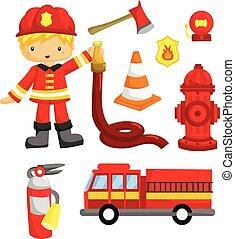 brandmand, vektor, sæt