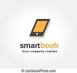 brandmarken, abstrakt, logotype, buch, vektor, schablone, logo, concept., klug, ikone