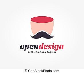 brandmarken, abstrakt, logotype, gesicht, vektor, schablone, logo, concept., ikone