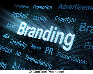 brandmarken, schirm, pixeled, wort, digital