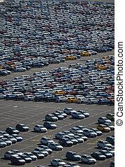 brandnew, automobili, in, uno, parcheggio