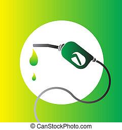 brandstof, bio, symbool, vector