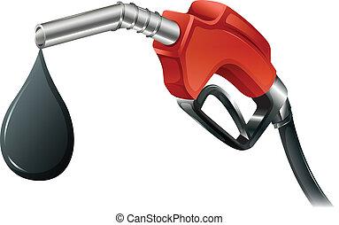 brandstof, grijs, pomp, gekleurde, rood