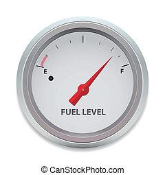 brandstof, vector, niveau